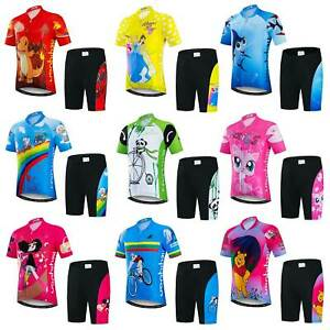 Kids Cycling Jersey & Padded Shorts Kit Boys Girls Children Cycling Clothes Set