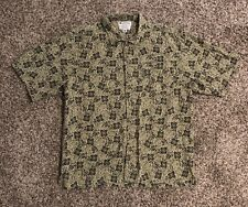 Columbia Mens S/S Button Down Shirt Large Green Linen Blend Margarita Flowers