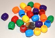 48 BRIGHT COLORFUL JUMBO OVAL PONY BEADS BIRD PARROT TOY PART CRAFT