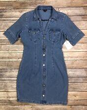 NWT Guess Jeans Women's Medium Blue Denim Stretchy V-Neck Button Up Sheath Dress