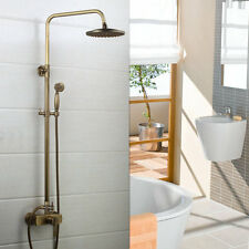 Wall Mounted Antique Vintage Brass Bathroom Rainfall W/ Spray Shower Faucet Set