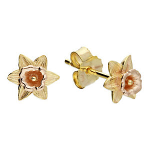 Gold Silver Earrings Welsh Daffodil Yellow Rose Gold 925 Sterling March Flower