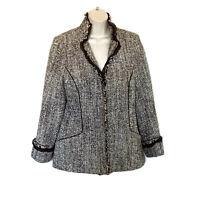 Lafayette 148 New York Women's Size 12 Jacket Brown Tweed Blazer Wool
