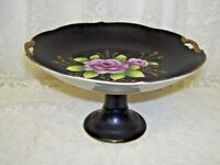 Pink Roses on Black Compote Pedestal Dish Plate with heavy gold rim