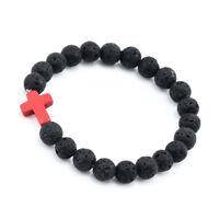 Unisex Natural Lava +Agate Stone Beads Buddha LION Head Beaded Handmade Bracelet