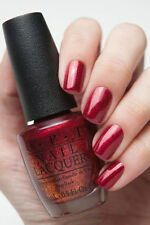 OPI Gwen ~~RED FINGERS & MISTLETOES~~ Red Gold Shimmer Nail Polish Lacquer HRF10