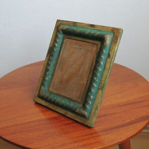 PEPE MENDOZA Picture Frame ca 1958 Brass with Blue Stone Inlay Mexico Original