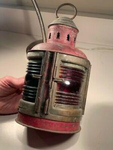 Antique Vintage PERKO 1920s 1930s Brass & Steel Bow Boat Lamp