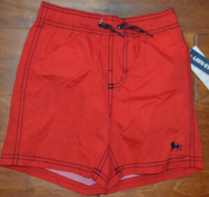 Boy's Old Navy Apple Red Slip On Drawstring Waist Mesh Lined Swim Shorts XS (5)