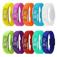 Silicone Digital LED Waterproof Sport Wrist Watch Boys Girls Kids Children HOT**