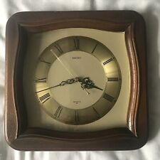 Seiko Vintage Wall Clock Quartz Face Made in Japan Gold and Wood