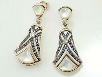 925 Silber Ohrringe mit Zirkonia Steinen  und weißem Perlmutt  36 mm Länge