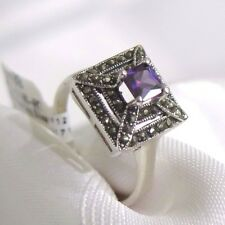 925 STERLING SILVER  MARCASITE AND AMETHYST CZ PAGODA STYLE  RING SIZE 9