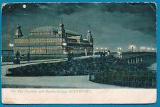 vintage ansichtkaart U.K. SOUTHPORT Pier Pavilion and Marine Bridge 1908