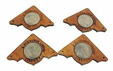 """4pc. """"Indian Head Nickel"""" Mahogany Box Corners with authentic vintage US Coins"""