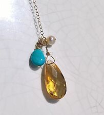 """14k Yellow Gold Y Necklace 1990 Vintage Faceted Citrine Blue Turquoise Pearl 18"""""""