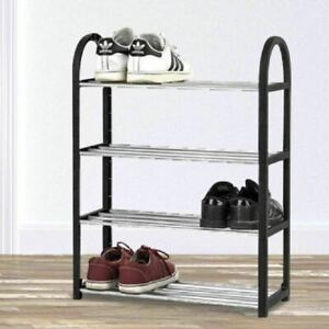 4 Tier Metal Shoe Rack 8-12 Pairs Storage Organisation Easy Build Shoerack Tidy