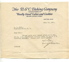 Vintage Letterhead B & C BAKING COMPANY Really Good Cakes & Cookies Dayton OH