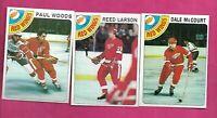 1978-79 TOPPS RED WINGS MCCOURT RC + LARSON RC + WOODS RC NRMT+  (INV# C1702)