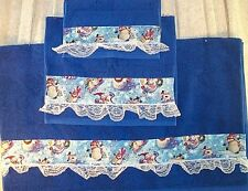 Home Decor' Towel Bath Snowmen Bright Blue Set 3 Pcs Hand Towel Wash Cloth New