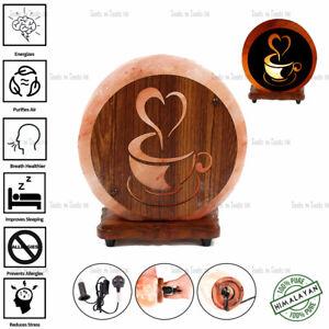 CUP SHAPE 3D WOOD PRINT NATURAL HIMALAYAN SALT LAMP DECOR GIFT PURIFY AIR UK
