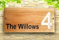 Personalised Oak House Sign, Carved, Custom Address Outdoor Wooden Name Plaque