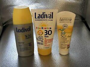 375 ml LADIVAL Aktiv Spray 30 + Creme 30 je 150 ml + LAVERA Creme 50 Kids 75 ml