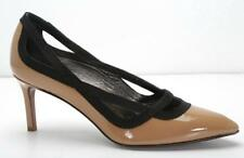 LANVIN Womens Tan Patent-Leather Black Ribbon Pointed-Toe High-Heels 9-39 NEW