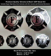IAFF Firefighter Decals SET Chrome Silver Black Premium Quality Lamination 0090