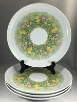 "NORITAKE BIMINI Younger Image 6923 Coupe 10 1/4"" Dinner Plates Floral Set of 4"