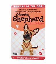 Beware of the German Shepherd Funny Metal Wall Sign Plaque Dog Lovers Gift