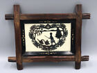 Antique+VICTORIAN+Signed+Paper+Cut+Out+SILHOUETTE+Carved+EBONIZED+Wood+Frame
