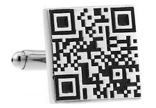 QR Scan Barcode Cufflinks Quick Response Wedding Fancy Gift Box Free Ship USA