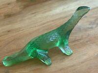 LALIQUE FRANCE_Vintage Signed_Green Crystal_Salamander Lizard Figurine_Mint