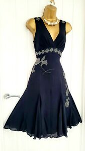 TED BAKER size 8 / 1 black beaded sparkle 100% silk fit & flare cocktail dress