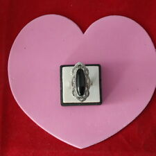 Beautiful 18 Kt Gold Filled Ring With Onyx And Marcasite 8.4 Gr.Size N In Box