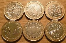 Conjunto de 6 monedas de dos libras Rugby/Marconi/DNA/Fawkes/Quemaduras/Darwin caza de moneda