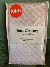 """Juicy Couture Satin King Pillowcase Set Pink On Pink 20""""x40"""" NIP"""