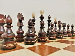 Wooden Chess Set  Hand Crafted Large 50 x 50 Hand Made Woodeeworld