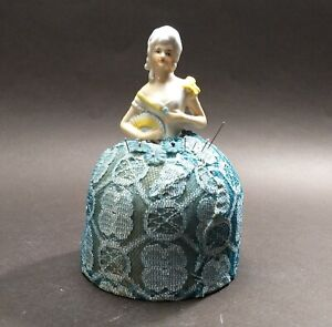 Beautiful Old Antique Vintage Victorian Porcelain Girl Half Doll Pin Cushion