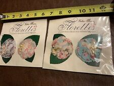Rare Fabric Flowers, 4 pcs, Webster's Pages, Florettes New In 2 Sealed Packs