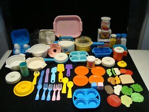 All Vintage Fisher Price Play Food Fun with Food Dishes Pots Mixer 70 Pc Lot C