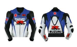 Suzuki Motorcycle Jacket Leather Motorbike Street Racing Jacket Armour Protected