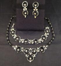 Kramer Signed Clear Rhinestone Black Crescent Moon Parure Necklace Bracelet ERs
