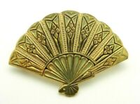 Gold Tone Damascene Hand Fan Pin Brooch Vintage