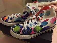 NWB-Converse Girls Junior Size 2 High Top All Star Shoes-white/wild Mango