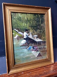 Genuine Early 1900s Signed Oil Painting,Impressionist,Woman River Washing,Framed