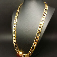 NEW MEN HEAVY 12mm 24K GOLD GF AUTHENTIC FINISH MIAMI CUBAN LINK CHAIN NECKLACE