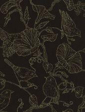 Fat Quarter Glory Birds Toile Black Metallic 100% Cotton Quilting Fabric