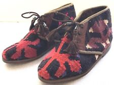 TOPKAPI  TURKEY KILIM CARPET ANKLE BOOTS LEATHER SOLES ART TO WEAR  SIZE 6-6.5
